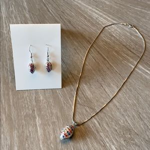 Jewelry - Combo necklace with football pendant & earrings